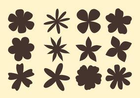Formes de fleurs dessinées à la main vecteur