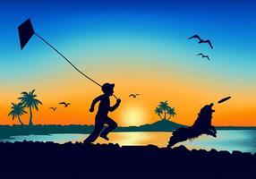 Border collie beach silhouette vecteur gratuit