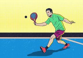 Homme jouant au padel tennis vecteur