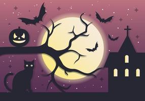 Spooky, arbre, halloween, nuit, vecteur, fond