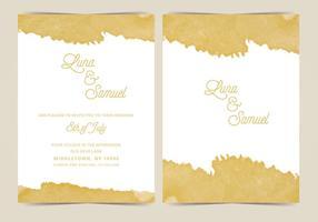 Invitation de mariage de vecteur de feuille d'or