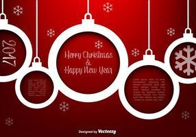 Sphères de Noël blanc vectoriel sur fond rouge