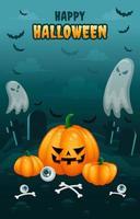 affiche effrayante de cimetière halloween vecteur