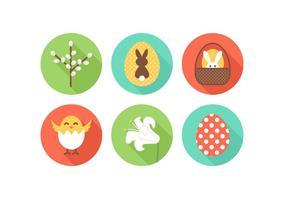 Icônes plates gratuites de pâques