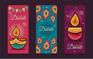ensemble de bannières joyeux diwali dessinés à la main vecteur