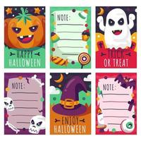 modèle de notes halloween mignon effrayant