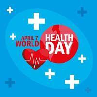 carte de la journée mondiale de la santé avec coeur