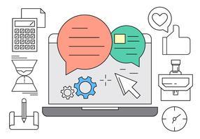 Icônes de bureau en ligne vecteur