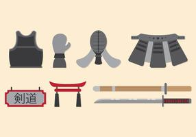 Ensemble d'icônes de Kendo vecteur