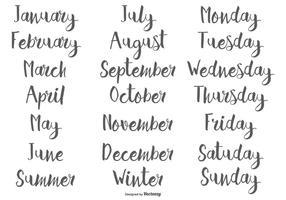 Mois et jours de la semaine calligraphiques tirés à la main vecteur