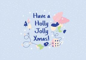 Holly jolly christmas illustration greeting vecteur