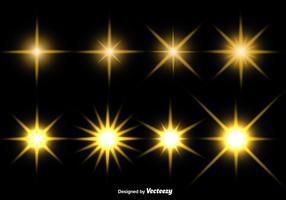 Ensemble d'icônes vectorielles étoiles incandescentes vecteur