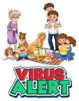 lettrage d & # 39; alerte de virus avec une famille vecteur