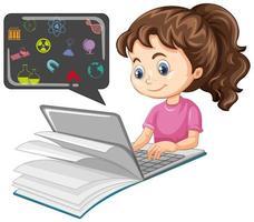 fille étudie et recherche sur l & # 39; ordinateur portable