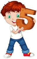 jeune garçon tenant le numéro cinq vecteur