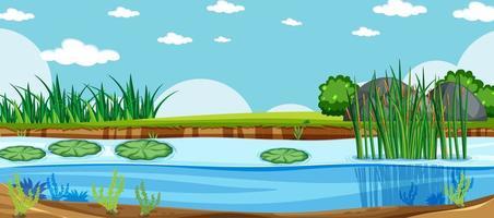scène de paysage naturel d'un marais vecteur
