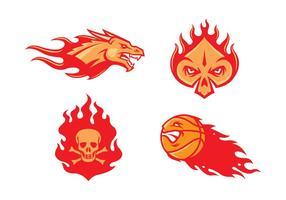 Vecteur de mascotte de flamme libre