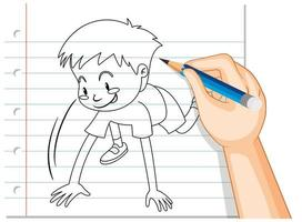 doodle d & # 39; un garçon se préparant à courir