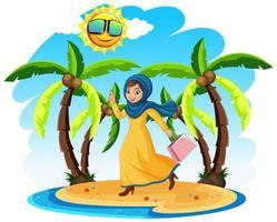 dessin animé, femme orientale, voyager