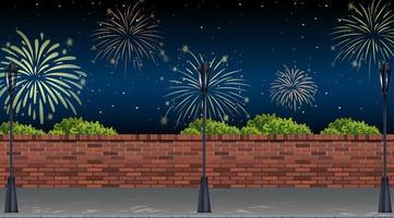 vue sur la rue avec scène de célébration de feux d'artifice
