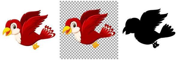jeu de caractères de dessin animé oiseau rouge vecteur