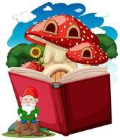 gnome et champignon sur un livre pop