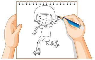 mains dessinant un garçon en patins à roulettes
