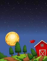 Grange de ferme avec fond de ciel et de pleine lune
