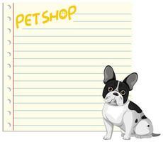 bannière avec du papier cahier vierge et un chien