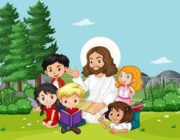Jésus avec des enfants dans le parc vecteur