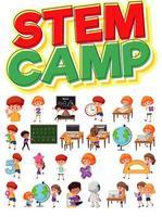 lettrage de camp de tige et enfants étudiant ensemble vecteur