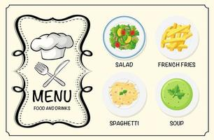 plats différents sur le menu du restaurant