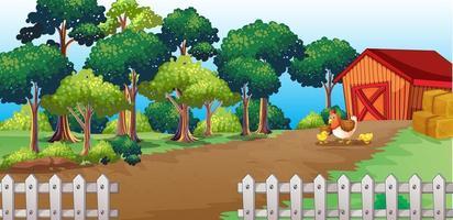 scène de ferme avec une grange et un poulet vecteur
