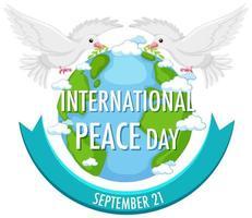 icône de la journée internationale de la paix avec des colombes
