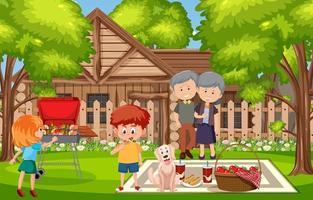 scène de barbecue avec une famille dans la cour