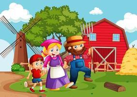 heureux, dessin animé, fermier, famille, caractères