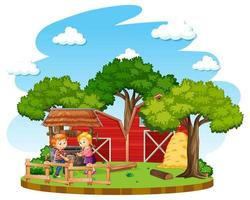enfants faisant des tâches ménagères dans une ferme