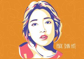 Park Shin Hye - Style coréen - Popart Portrait vecteur