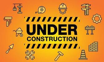 sous les icônes de chantier et de construction vecteur
