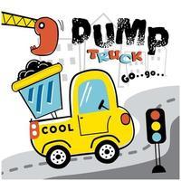 camion à benne de dessin animé sur la conception de la route