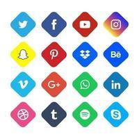 icônes plates rondes de médias sociaux