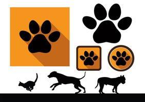 icônes de patte animale vecteur