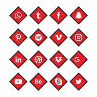 jeu d'icônes de coin rouge et noir de médias sociaux