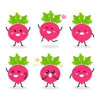 collection de personnage de radis mignon dans diverses poses vecteur