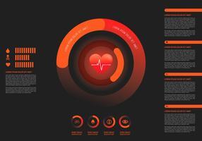 Modèle d'infographie de fréquence cardiaque vecteur