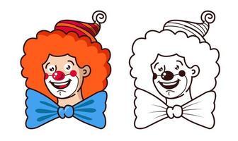 aimable clown souriant en versions couleur et contour vecteur