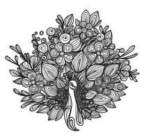 conception de fleur de paon dessiné à la main vecteur