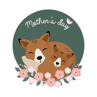 renard maman et bébé pour la fête des mères vecteur