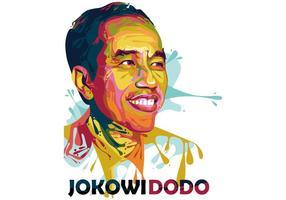 Joko Widodo - Président - Popart Portrait vecteur