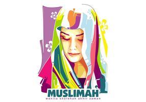 Muslimah - popart portrait vecteur